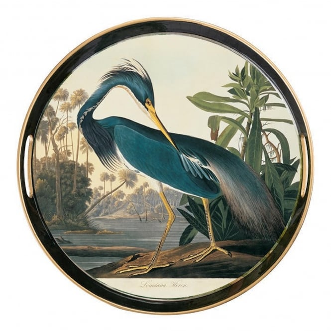 Al Fresco Tray with Handles - Audubon Heron