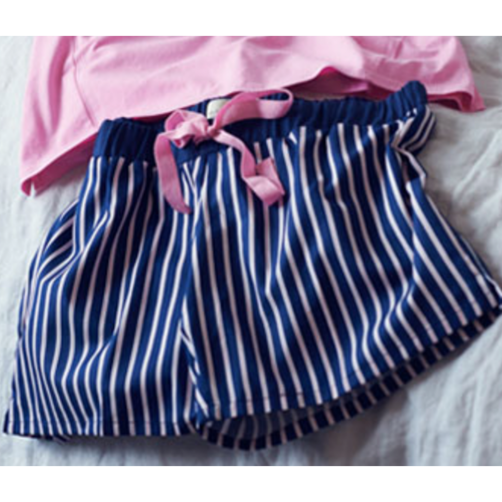 3abae6e2fa Alanis Pencil Stripe Shorts Navy Pink - For Her... from The Luxe ...