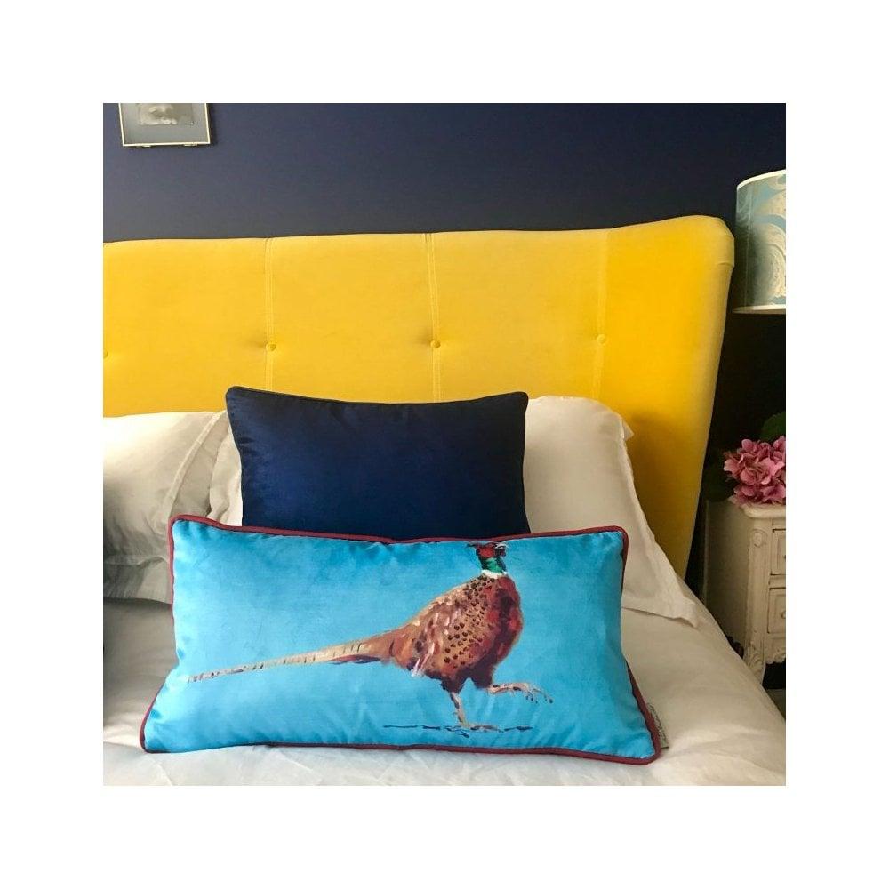 Thompson Travel Uk: Anna Thompson Blue Pheasant Velvet Cushion