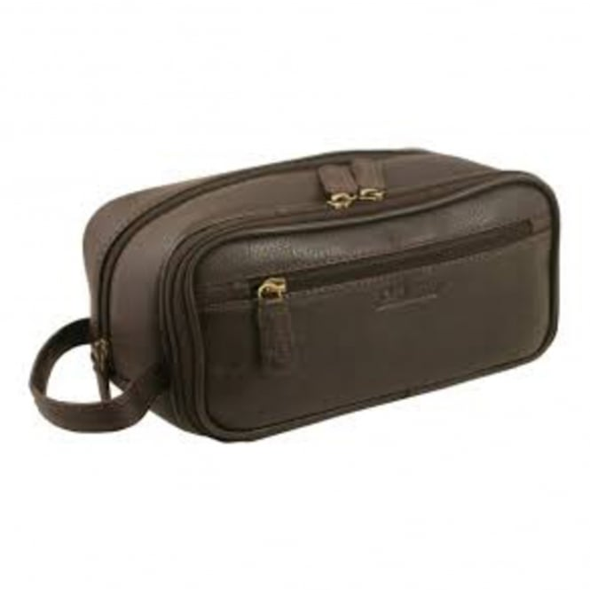 Ashwood Classic Gents Brown Leather Washbag