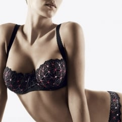 Bahia Half Cup Black Embroidered Bra