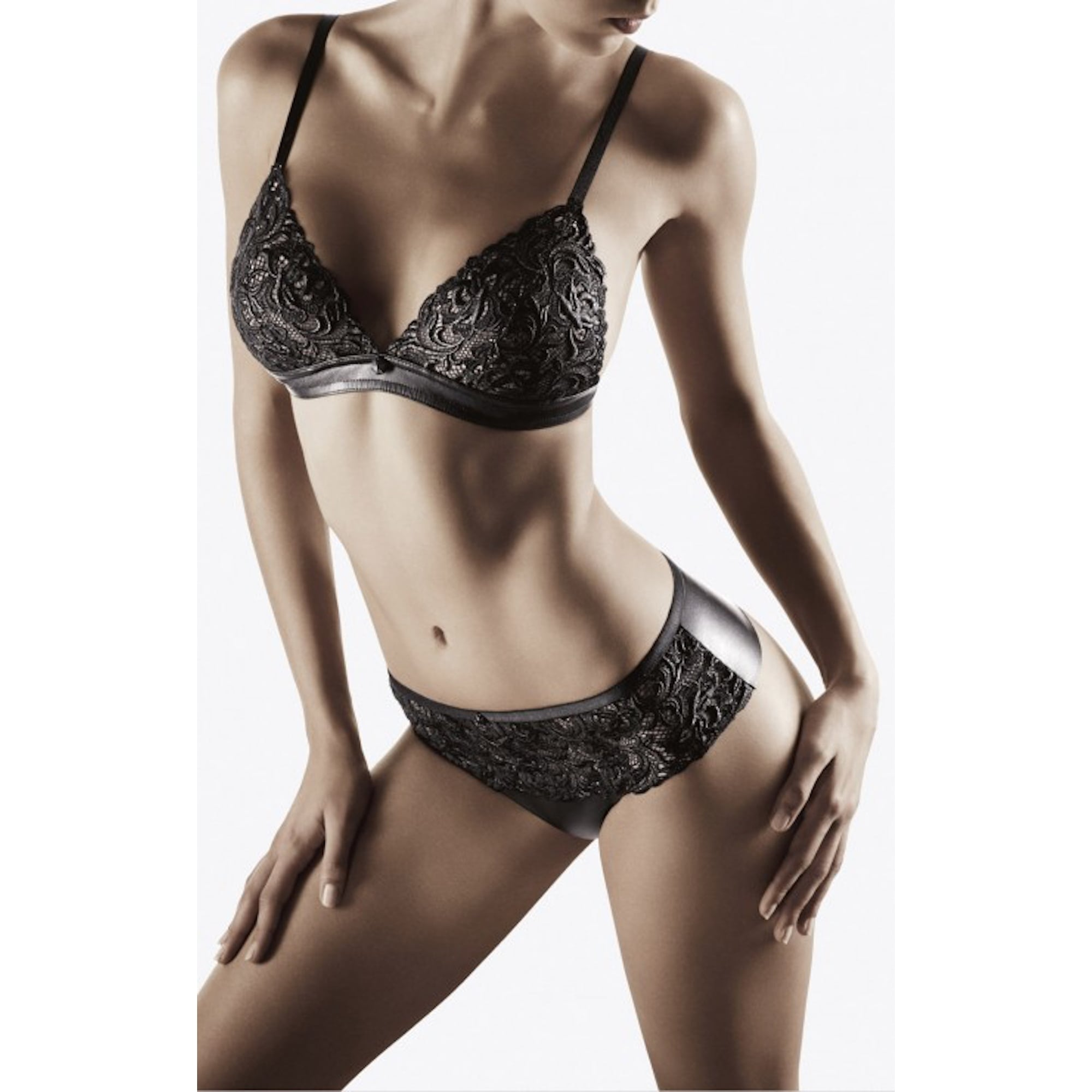 cuir de rose lace leather effect triangle bra night loungewear lingerie from the luxe. Black Bedroom Furniture Sets. Home Design Ideas