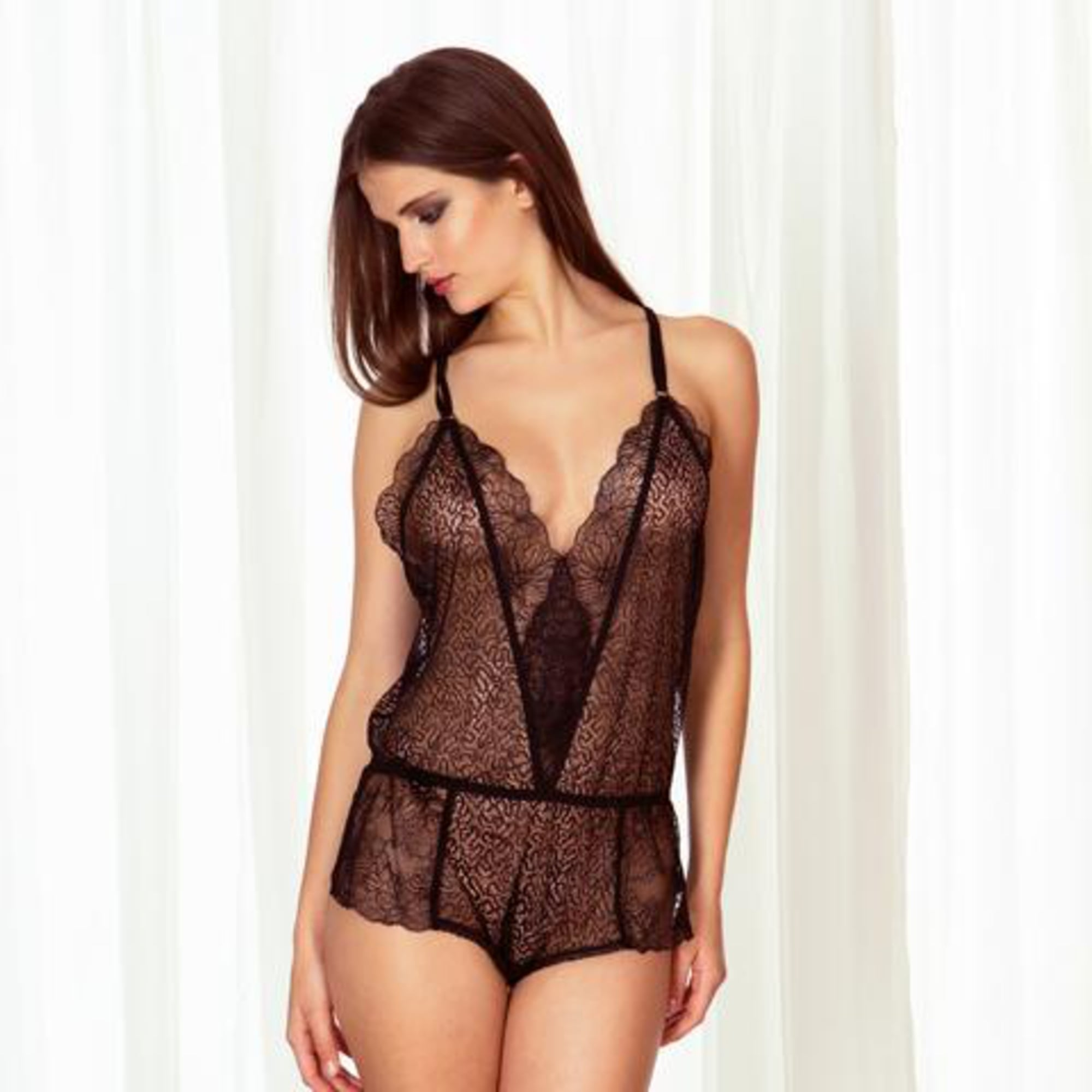 Pay Here Buy Here >> Bluebella Fleur Black Lace Teddy - Night, Loungewear ...
