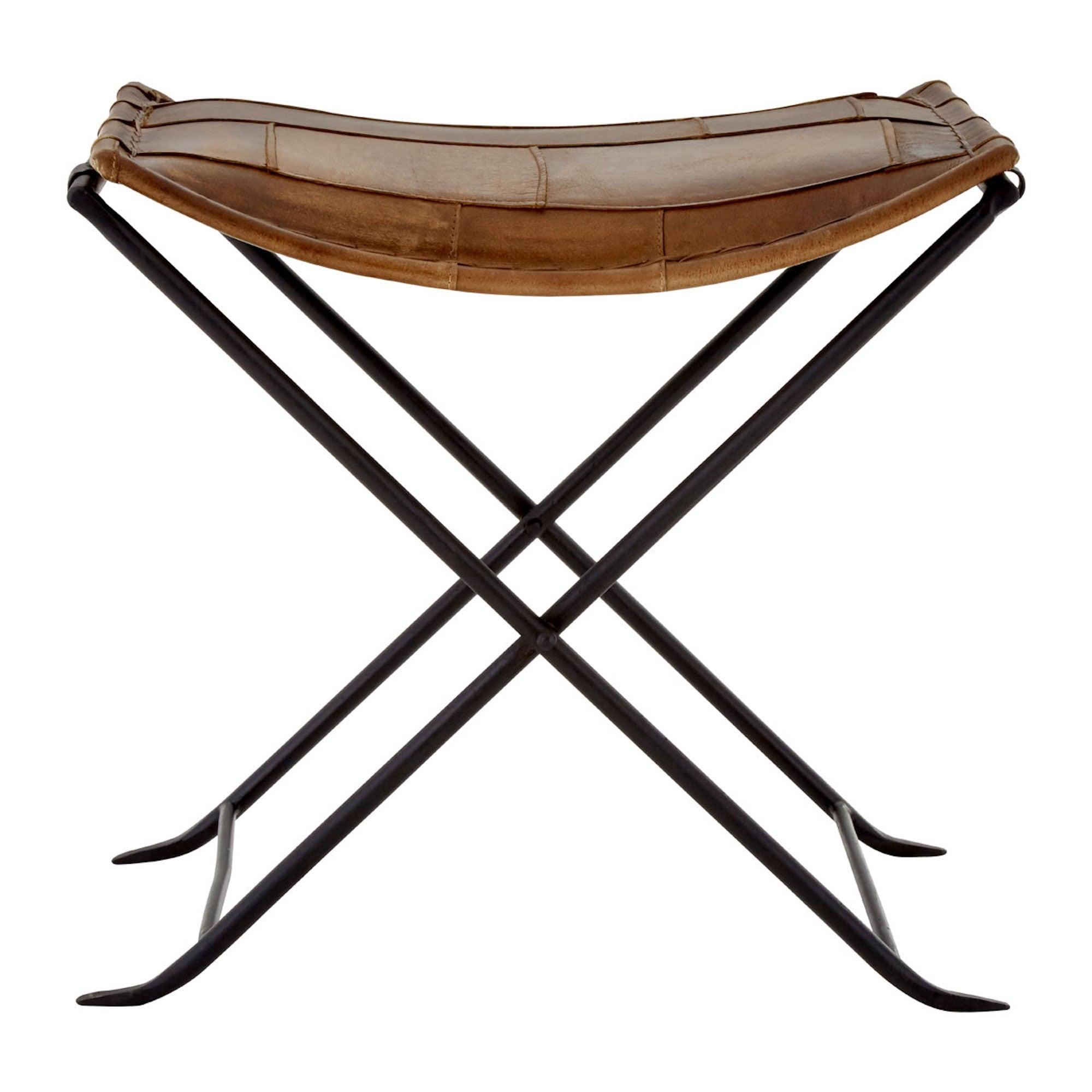 Buffalo Leather Folding Stool Iron Frame Bed Bath