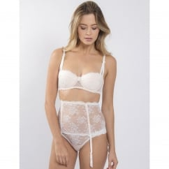 Carousel Lace Wide Suspender, White/Blush