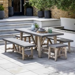 Chilson Small Table and Bench Set - Cement Fibre