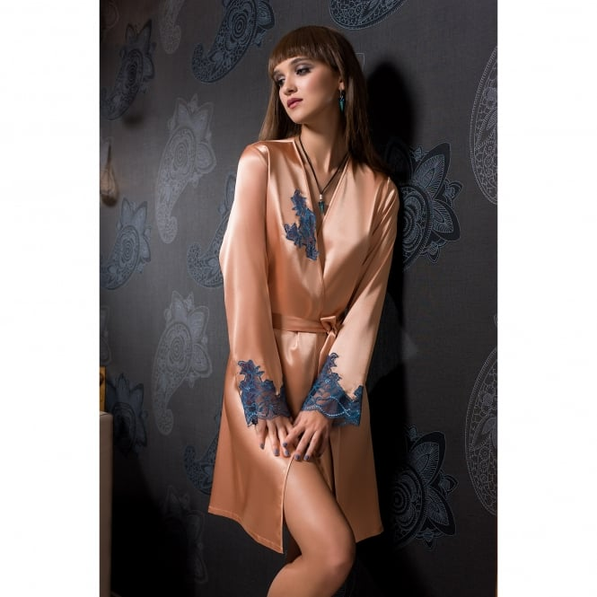 COEMI Cosmopolitan Satin Robe with Stunning Deep Lace Detail