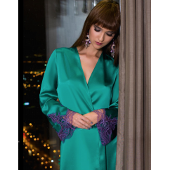 Eternal Satin Emerald Green Robe with Stunning Deep Lace Detail