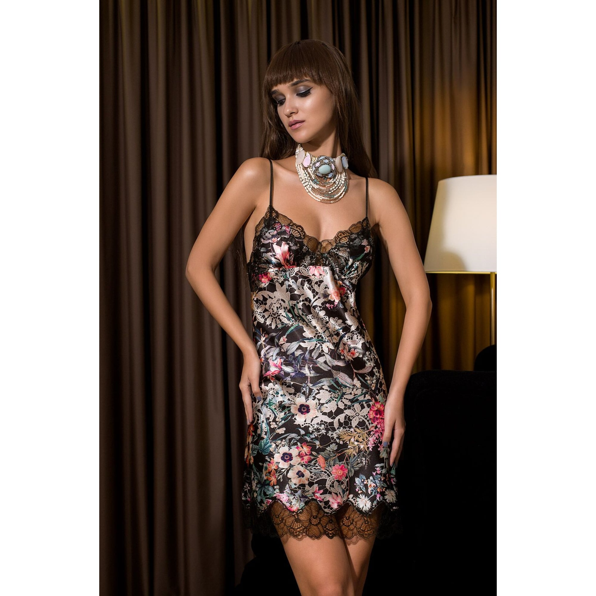 Midnight Fleur Black Satin Chemise - For Her... from The Luxe Company UK af3e35f88