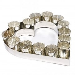 Heart Votive Tray With Votives - Large