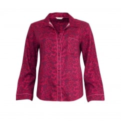 Berry Print Long Sleeve Lightly Brushed Woven Pyjama Top