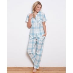 Camilla Woven Short Sleeve Check Pyjama Top