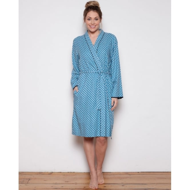 Cyberjammies Clara Woven Long Sleeve Tile Print Short Robe