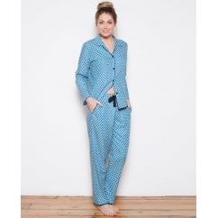 Clara Woven turn up Sleeve Tile Print Pyjama Set