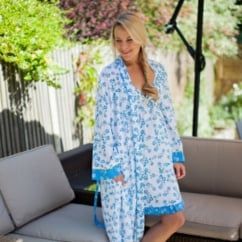 Daisy Blue Long Sleeve Dual Print Robe With Contrasting Trim