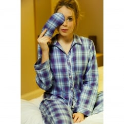 Dandelion shower Blue Check Woven PJ Set with contrasting trim