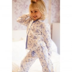 Dandelion shower White Childs Woven PJ Set with contrasting trim
