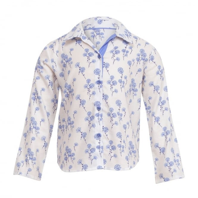 Dandelion shower White Woven Top with contrasting Wedgewood blue flower & trim