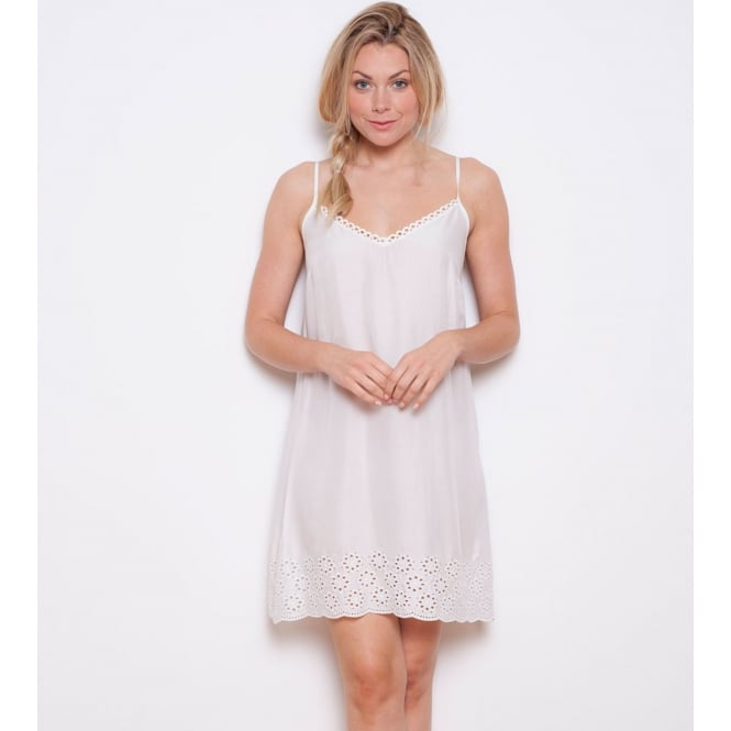 Embroidered Woven White Model Chemise