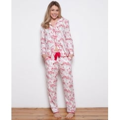Erin Woven Long Sleeve Brushed Floral Print Pyjama Set