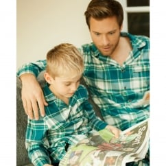 Like Father Like Son Woven Lightly Brushed Green Check Pyjama Pant