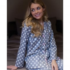 Lotus Flower Woven Long Sleeve Grey Spot Print Pyjama Top