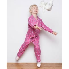Molly Girls Woven Long Sleeve Ballerina Print Pyjamas