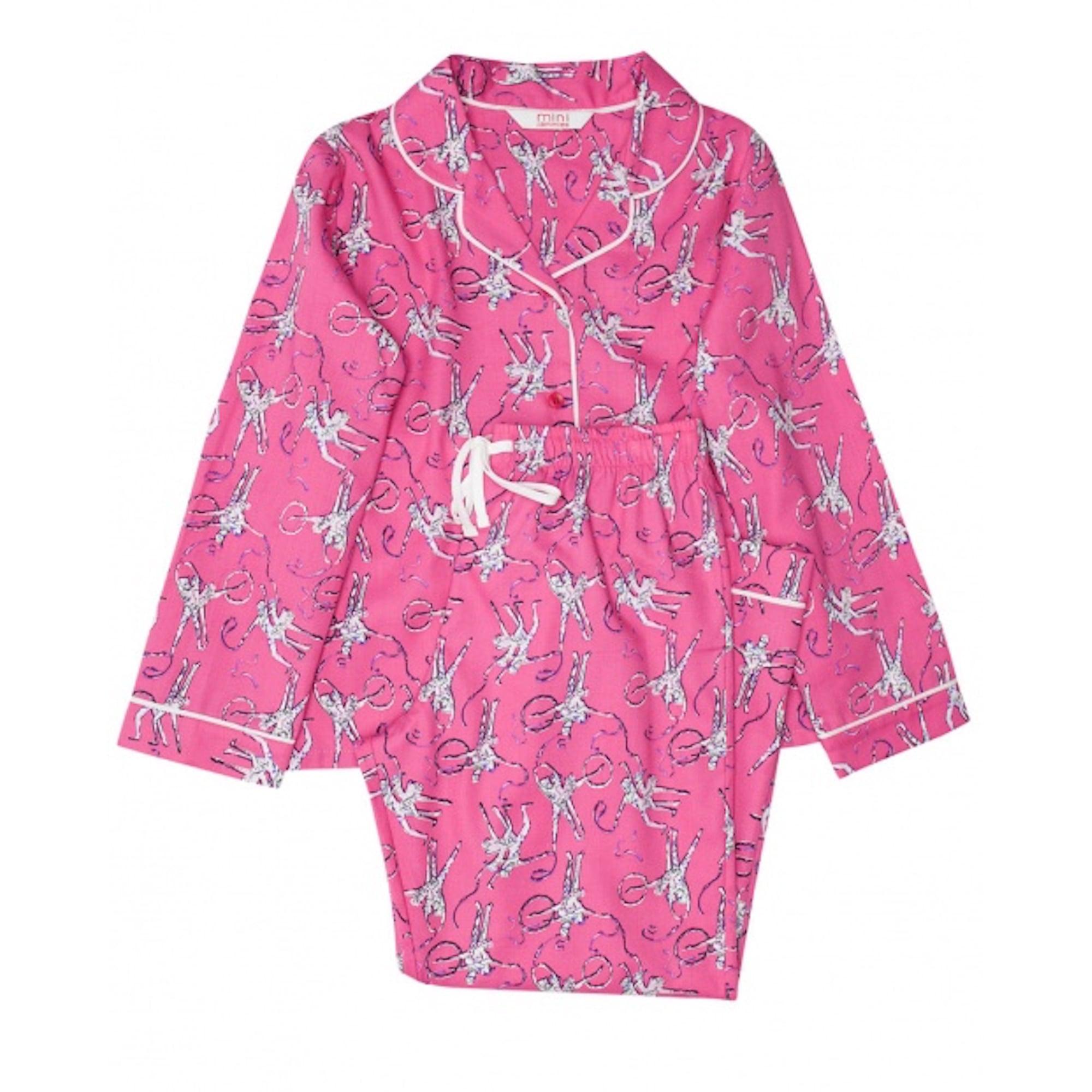 cyberjammies molly girls woven long sleeve ballerina print pyjamas