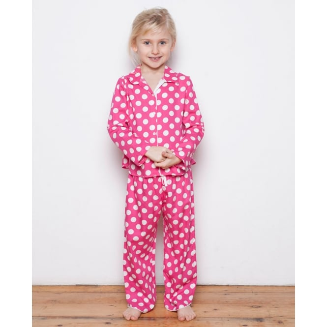 Cyberjammies Molly Girls Woven Turn up Sleeve Spot Print Pyjamas