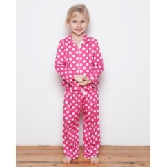 Molly Girls Woven Turn up Sleeve Spot Print Pyjamas
