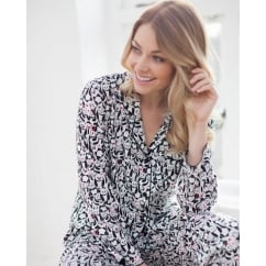 Pandora Woven Long Sleeve Brushed Panda Print Pyjama Top