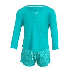 Sea Breeze Aqua Long Sleeve Knit Top & Woven Spot Print Shorty Set