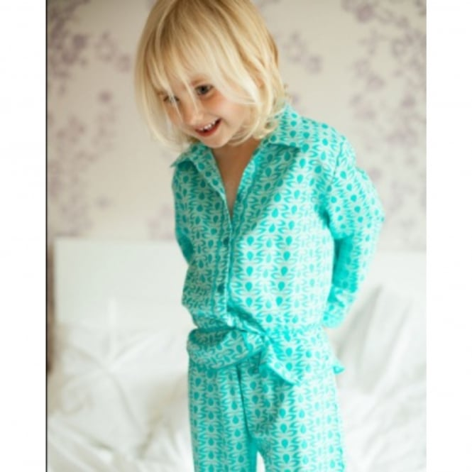Cyberjammies Sea Breeze Childs Aqua Spot Print Turn Up Sleeve Woven Pyjamas