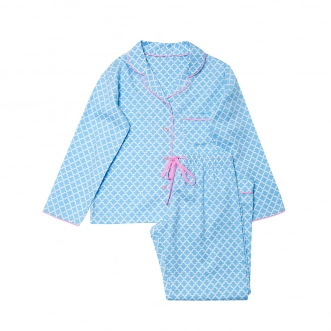Cyberjammies Up And Away Blue Tile Print girls PJ set