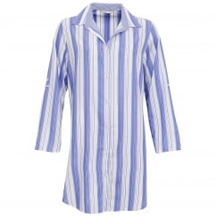Vienna Blue & White Woven Stripe Nightshirt