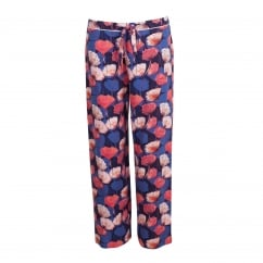 Winter Flower Blue Floral Woven Pant