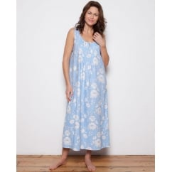 Woven Floral Print Blue Long Nightdress