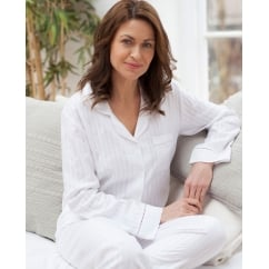 Woven White Satin Stripe Long Sleeve Pyjama Set