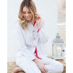 Wren Woven Long Sleeve Heart Dobby Stripe Pyjama Set