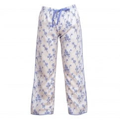 Dandelion Shower White Woven Pant with contrasting Wedgwood Blue Trim