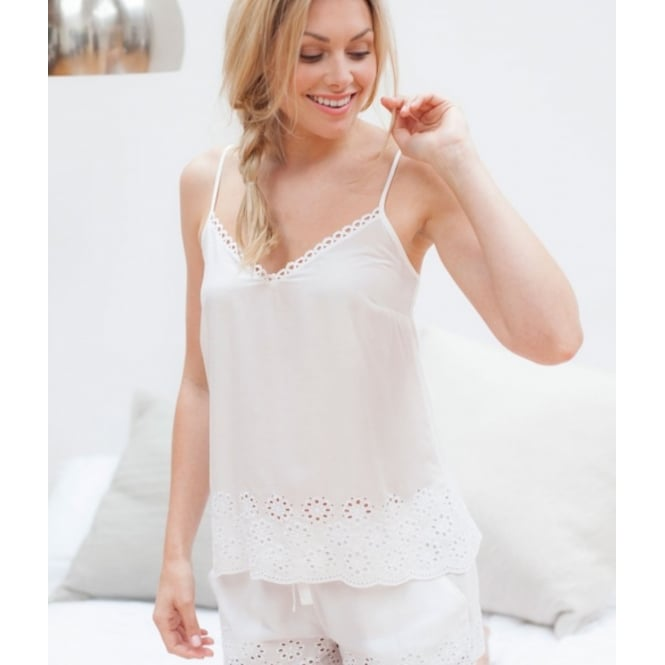 Embroidered Woven White Model Cami