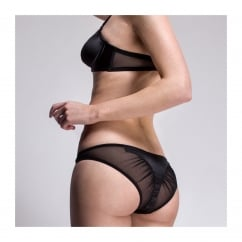 Tamara Black Silk Brief with Soft Sheer Mesh Rear
