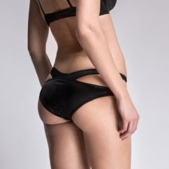 Tamara Silk Black Strappy Brief