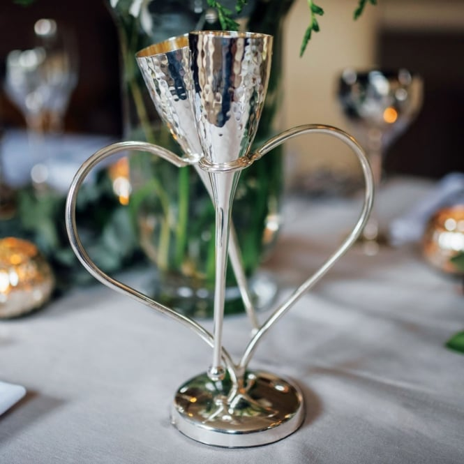 Entwined Lover's Champagne Flutes on Heart Shaped Stand