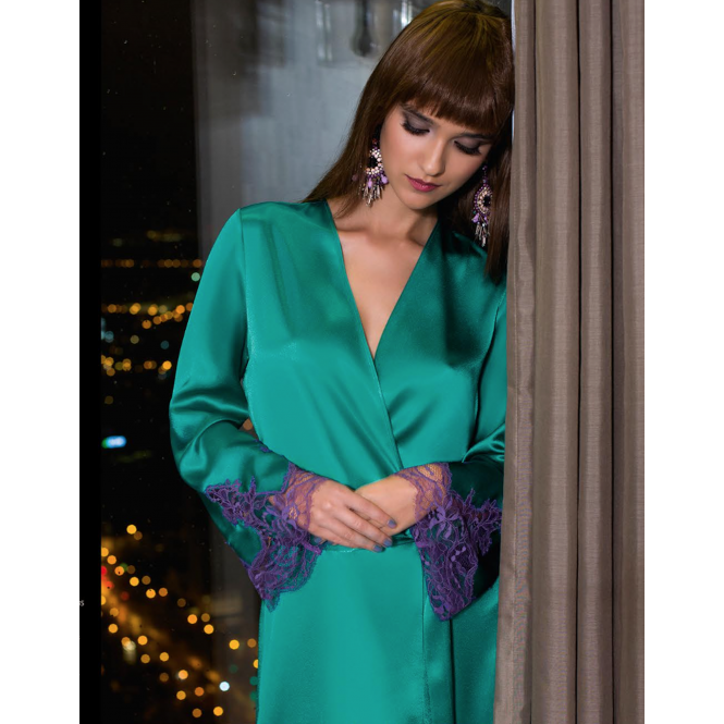 a8df6a8c89 COEMI Eternal Satin Emerald Green Robe with Stunning Deep Lace Detail