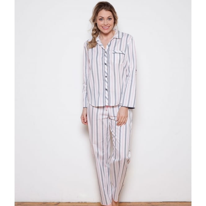 Faye Woven Turn up Sleeve Stripe 100% Cotton Pyjama Set
