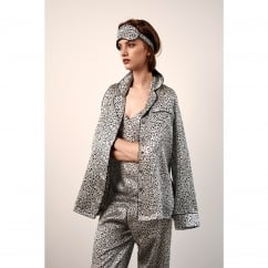 Midnight Botanicals Silver Silk Printed PJ set with Contrasting Trim