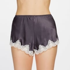 Pure Silk Scalloped Lace Edge Shorts in Smoke