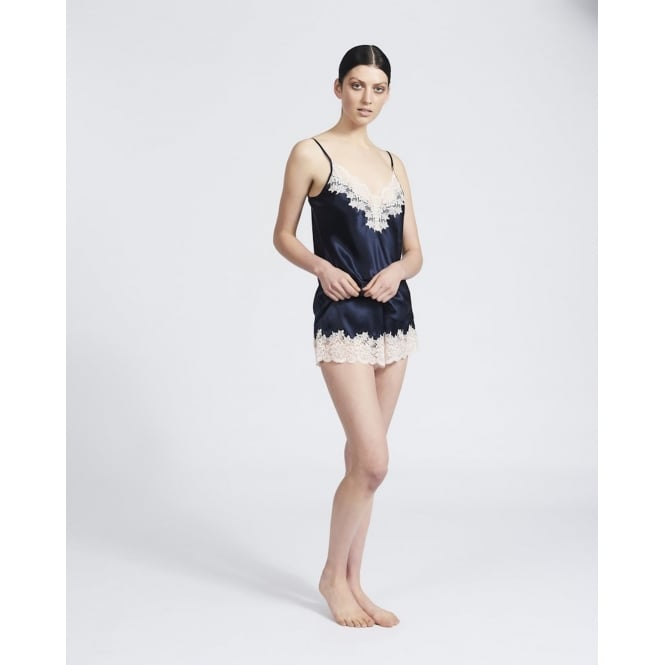 Ginia Silk Camisole with Lace - Navy/Pink