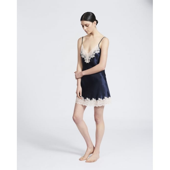 Ginia Silk Chemise with Deep Lace in Navy & Pink